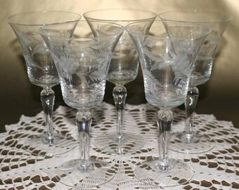 Vintage Etched Flower Wine or Water Goblets