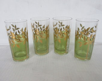 Set of Four Vintage Culver Tumblers, Highball Glass, Gold Leaf with Green
