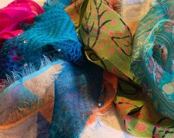 Fabric Scrap And Bead Bag