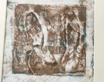 Original, Artwork, Matted But UnFramed Monoprint Series #6