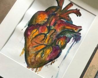 Original, Artwork, Matted But UnFramed Heart Series #2
