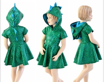 Cap Sleeve Dragon Dino Hooded Skater Dress Toddlers and Girls Size 2T 3T 4T and 5-12 Green Round Scale w/ Peacock Spikes & Hoodliner 153930