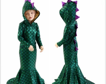 Girls Green Dragon Hoodie Gown with Purple Fishscale Spikes & Gold Sparkly Hoodliner Dino Dress  Sizes 2T 3T 4T and 5-12   153921