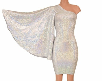 f408b9cb7b11 Silver on White Shattered Glass One Shoulder Fan Sleeve Bodycon Dress in  Stretchy Spandex - 155908