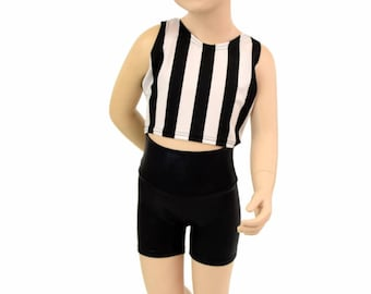 Girls Black Zen Soft Knit Shorts and Sleeveless Vertical Black & White Stripe Crop Top 2PC Set Sizes 2T 3T 4T and 5-12 155065