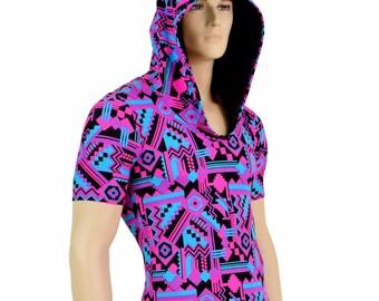 31054e09b85d Mens UV Glow Pink   Black Aztec Print Tee Length Sleeve Hoodie Romper w Black  Zen Hood Liner Party Animal Festival Rave Bromper - 154694