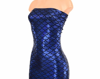 Bleu royal Dragon Scale holographique brillant brillant bustier Tube robe  Clubwear ae73a25328c
