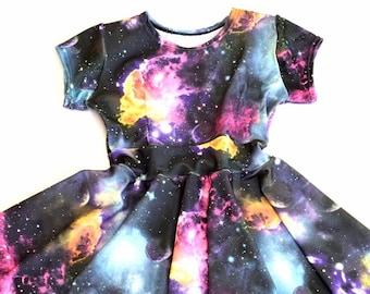Girls UV Glow Galaxy Print Cap Sleeve Spandex Skater Dress    151867