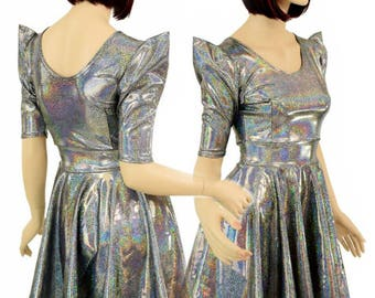 faff3cf3820 Silver Holographic Sparkle Darted Sharp Shoulder Pointy Sleeve Fit and Flare  Skater Dress Rave Festival Clubwear-7945