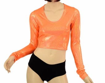 994a60d294 Neon Orange Sparkly Jewel Holographic Long Sleeve Crop Top Rave Festival  Clubwear UV GLOW Bright - 152261