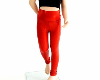 Kids Red Sparkly Jewel Rockstar Party Leggings Childrens and Girls Sizes 2T 3T 4T and 5-12 - 154483