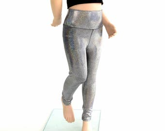 Kids Silver Holographic Rockstar Party Leggings Childrens and Girls Sizes 2T 3T 4T and 5-12   154482