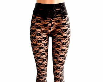 4ee6cbda3f9a7 Black Lace Sheer See Through High Waist Leggings 154452