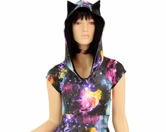 UV Glow Galaxy Print Hoodie Cap Sleeve Fit and Flare Skater Skate Dress w/Black Zen Hood Liner and Cat Ears Rave Kitty Clubwear - 155253