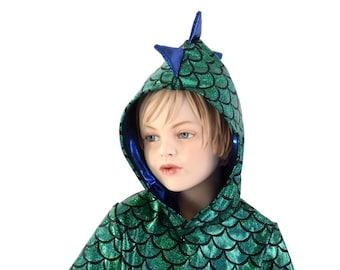 Childrens Green Dragon Scale Short Sleeve Hoodie with Blue sparkly Spikes  & Hood LIner Kids Sizes  2T 3T 4T and 5-12   153947