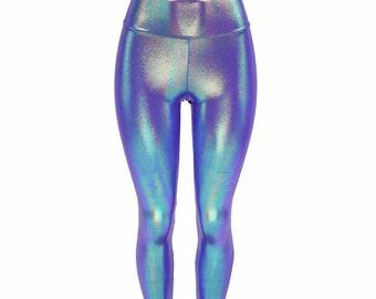 696b47b2ebd62a Moonstone Metallic Hologram High Waist Lycra Spandex Leggings - 156195