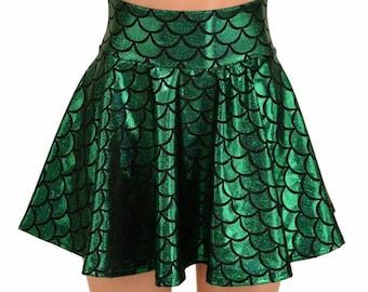 Itsy Bitsy Green Mermaid Scale Holographic Metallic Circle Cut Mini Skirt Rave Clubwear EDM  -E8054