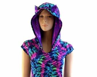 666871d49d1a Neon UV Glow Tie Dye Print Cap Sleeve Hoodie Romper with Grape Holographic Hood  Lining and Cat Ears - 154072