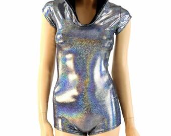 Dark Silver Holographic Metallic Cap Sleeve Hoodie Romper w/Black Zen Hood Liner Rave Clubwear Onsie -E8189