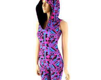 0b8dca8d829f Sleeveless Neon UV Glow Pink   Black Aztec Print Hooded Bodysuit Catsuit w Black  Zen Hood Liner - 151199