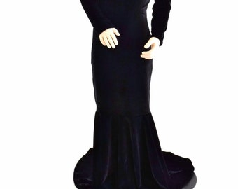Girls Black Velvet Morticia Puddle Train Dress Gown Halloween Costume Pagent Gown Sizes 2T 3T 4T and 5-12   152858
