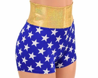 Blue and White Star Print High Waist Booty Shorts Costume Shorts - E8165