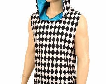 032cfb18153f Mens UV Glow Black and White Diamond Print Print Sleeveless Hoodie Shirt  with Peacock Blue Hood Lining - 155550