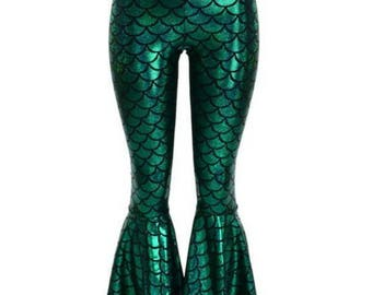 0a137d43cb7ca9 Bell Bottom Flares in Emerald Green Mermaid Scale Leggings with High Waist  & Stretchy Holographic Nylon Spandex Fit 150305