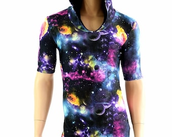 b42062a91f9 Mens UV Glow Galaxy Tee Length Sleeve Hoodie Romper w Black Zen Hood Liner Party  Animal Festival Rave Bromper - 154558