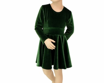 c23292939abc Toddlers and Girls Size 2T 3T 4T and 5-12 Forest Green Stretch Velvet Long  Sleeve Fit and Flare Skater Dress - 155529