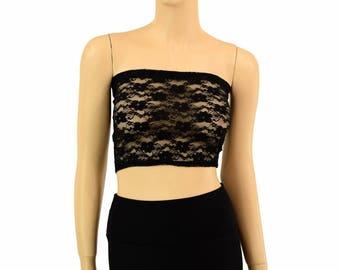 7404b7de5b6 Black Lace Sheer See Through Lycra Spandex Strapless Tube Top Clubwear -  154968