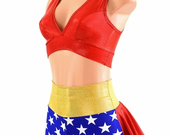 f61076ee78 Red Sparkly Jewel Starlette Bralette   Blue White Star High Waist Ruffle  Rump Shorts w Gold SJ Waistband and Red SJ Ruffle 2PC Set 154542