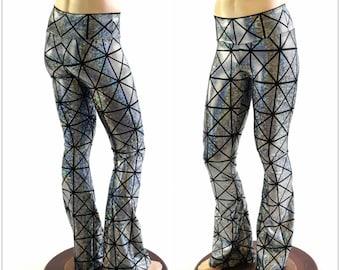 59868009e114d Mens Silver on Black Cracked Tiles Holographic Bootcut Spandex Pants  Rockstar Rave Festival Yoga Leggings Disco -152360