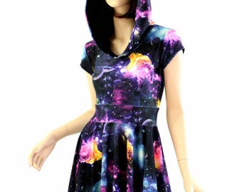 02e8245ebb3 UV Glow Galaxy Print Hoodie Cap Sleeve Fit and Flare Skater Skate Dress w Black  Zen Hood Liner Rave Festival Clubwear - 154477
