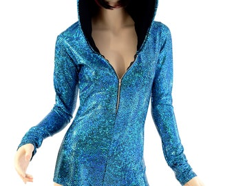 b5784b3c42c Turquoise on Black Shattered Glass Zipper Front LONG Sleeve Hoodie Romper  w Black Zen Hood Liner Rave Clubwear Festival Onsie -154457