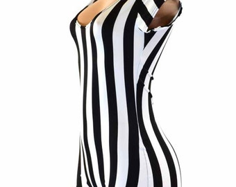 Black   White Stripe Referee Print Cap Sleeve Bodysuit Romper Jailbird  inmate 151213 b3bc106a7