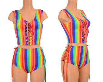 b25068292d8ae 2PC Rainbow Stripe Lace Up Tank Style Crop Top and Lace Up Siren Shorts  Bright Gay Pride Parade - 156050