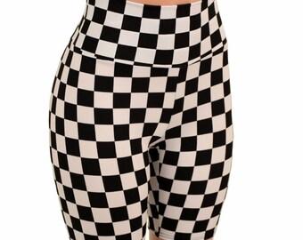 5b9fedf8725fa High Waist Black & White Checkered Print Bike Shorts Rave Clubwear Winner  Flag - 155440