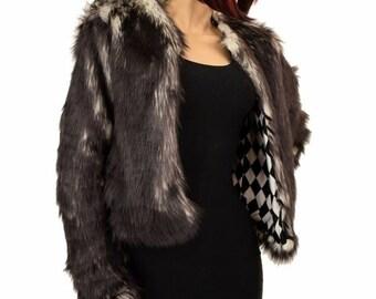 7fcccd0f9 Black Faux Fur Long Sleeve Jacket Coat with Black & White Diamond Print UV  Glow lining Soft Lux Festival Rave Party Clubwear - EMK100