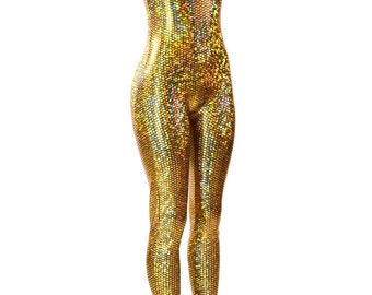 b324eb99d62 GOLD Mermaid Fish Scale Holographic Tank Style Catsuit Onsie 150734