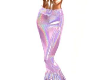 90070f0ac Light Lilac Purple Holographic Spandex Mermaid Tail Skirt 150801