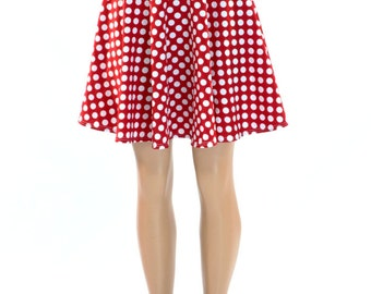 c6c7d5fb5 Red & White Polka Dot Print Skater Skirt Full Circle Stretchy Lycra Skirt  -150408