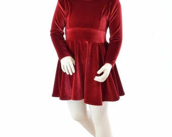 31215e7cb19 Toddlers and Girls Size 2T 3T 4T and 5-12 Red Stretch Velvet Long Sleeve  Fit and Flare Skater Dress 151964