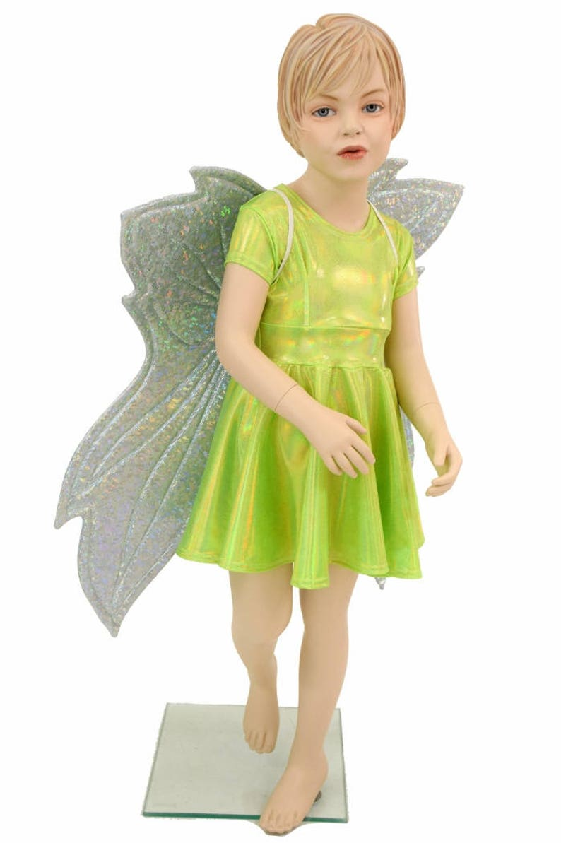Toddlers and Girls Size 2T 3T 4T and 5-12 Lime Holographic Cap Sleeve Skater Dress 154878 Frostbite Shattered Glass Wireless Fairy Wings