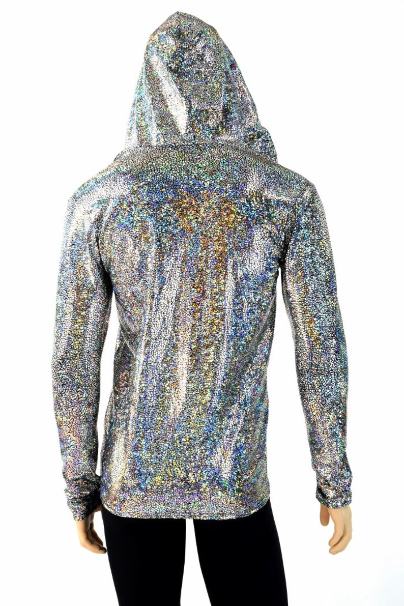 6f11666dec1 Mens Silver on Black Shattered Glass Holographic Long Sleeve