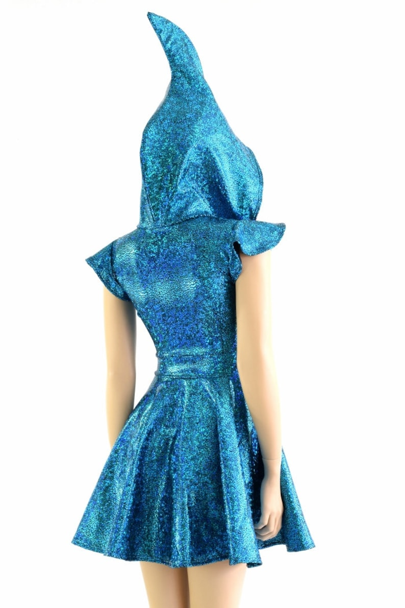 130ee5dd0b2c Holographic Turquoise Shark Fin Hoodie Skater Dress with Red