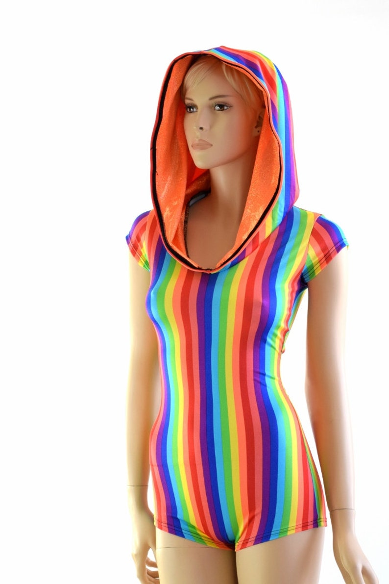 3a51fec0e6c Rainbow Stripe Print Cap Sleeve Hoodie Romper with Orange
