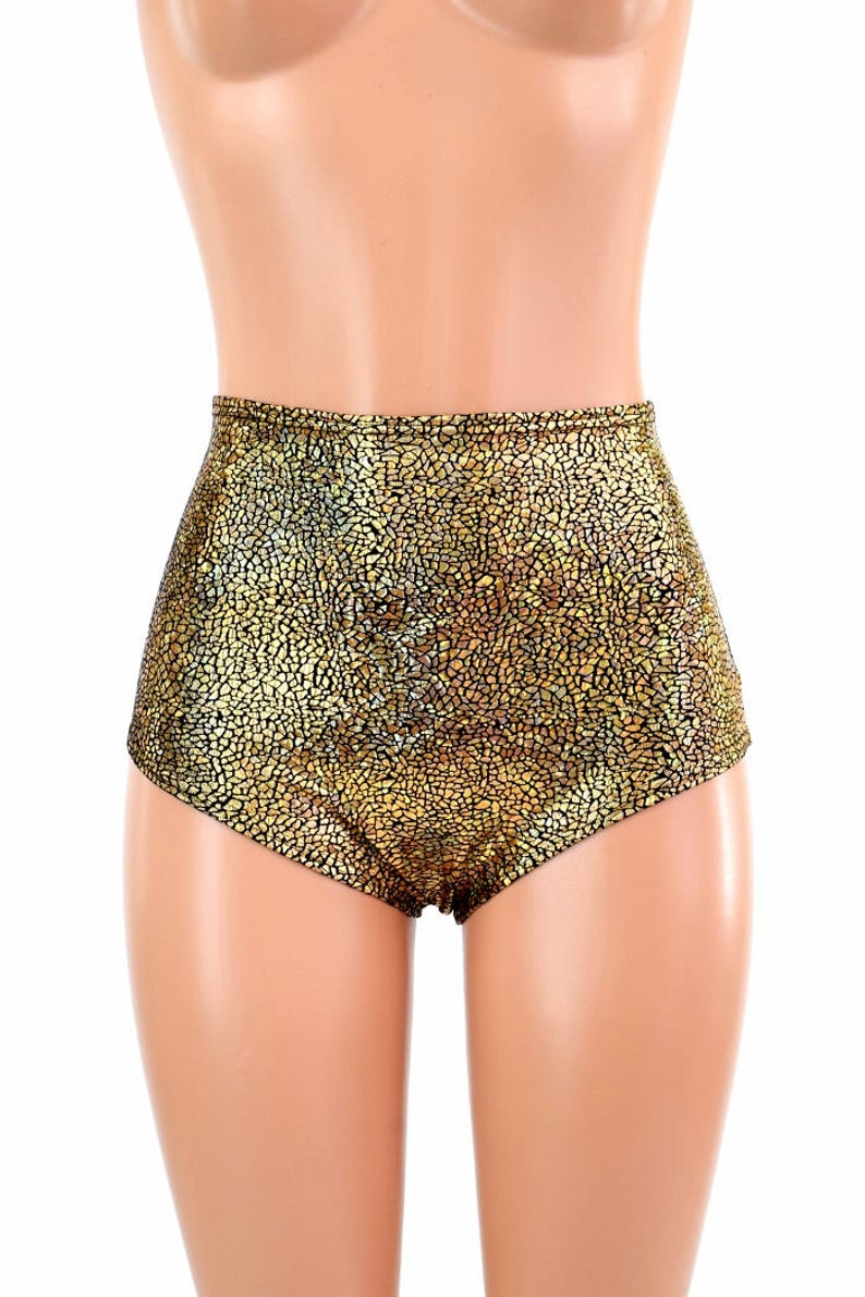 65db47a2b5 High Waist Siren Hot Pants in Gold on Black