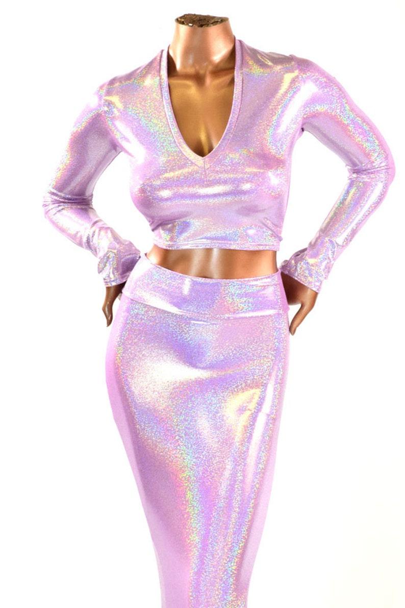d791cdd6d 2PC High Waist Mermaid Wiggle Skirt and Long Sleeve V-Neck | Etsy