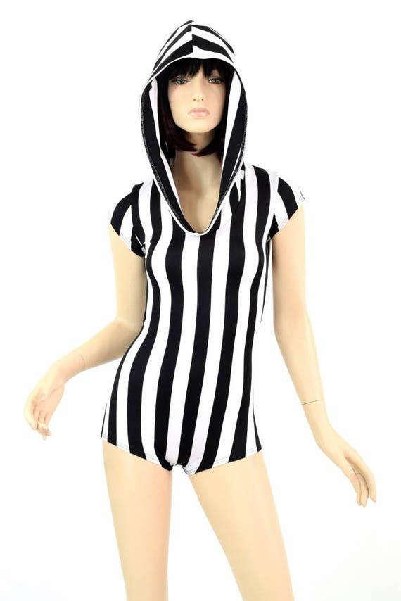 Black   White Stripe Referee Print Cap Sleeve Bodysuit Hoodie Romper  Jailbird inmate 151215 993a81fa8